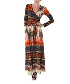 Another great find on #zulily! Rust Abstract Surplice Maxi Dress by Adrienne #zulilyfinds