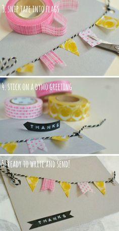 handcrafted diy birthday card ideas for girls - DIY Geburtstagsgeschenke - The Dallas Media Tarjetas Diy, Washi Tape Cards, Masking Tape, Washi Tapes, Karten Diy, Ideias Diy, Tape Crafts, Kids Crafts, Handmade Birthday Cards