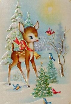 Christmas deer with Christmas cheer Vintage Christmas Images, Old Fashioned Christmas, Christmas Scenes, Christmas Cards To Make, Christmas Deer, Retro Christmas, Vintage Holiday, Christmas Pictures, Christmas Greetings