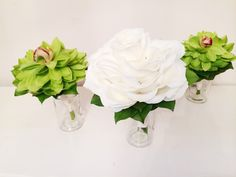 A lime green and white glamelia bouquets for a summer wedding!