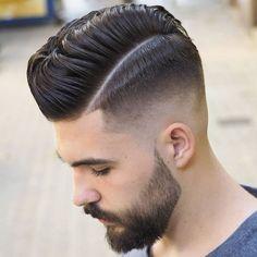 Mid Fade Comb Over + Part + Beard