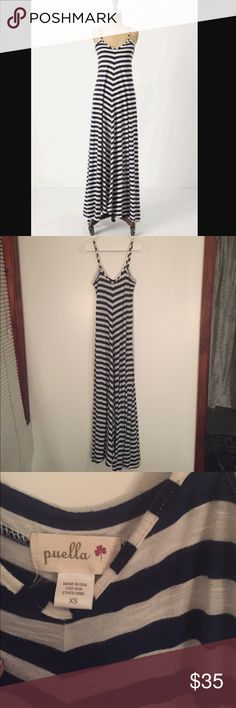 1 day sale! Anthropologie Puella maxi dress ⚓️ EUC Puella Anthropologie nautical navy and white striped flowy maxi dress, slight wear on the fabric shown in the last picture, perfect for summer! ⚓️ Anthropologie Dresses Maxi