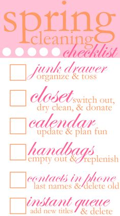 spring cleaning checklist- very simple!