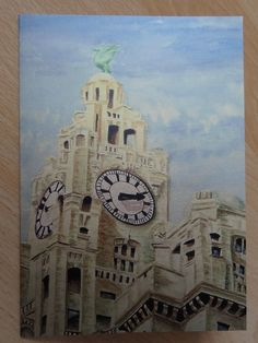 Royal Liver Building, Liverpool, Watercolour Greetings Card - Blank Inside £2.00