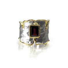 G. Kabirski Gold Over Silver Baguette Red Garnet Ring   Lux Jewelers