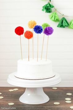 Rainbow Pom Pom Cake Toppers- Simple, affordable way to dress up a store bought cake!