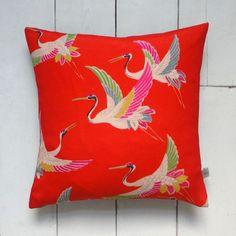 Bright Red Vintage Kimono Cushion 'Rainbow Crane Birds'