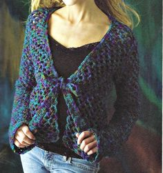 Tie Front Sweater crochet pattern