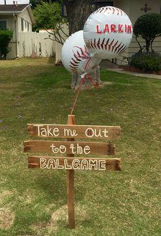 Boy baseball baby shower decor. Wooden sign and baseball balloons