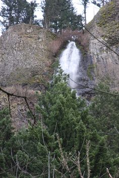Mist falls as seen from old highway 30.  It's fully visible from interstate 84, but you're zipping along at 65 mph.  No photo ops that way!  Columbia Gorge, OR.  03/2011.
