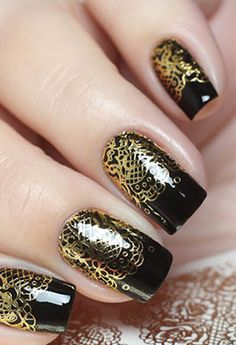 Milv gold decals on black nails