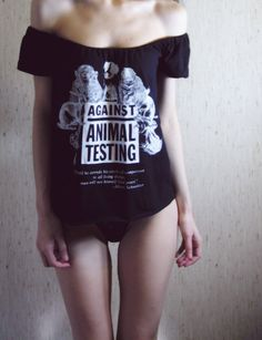 against animal testing offshoulder beautiful shirt by MoonEuphoria, $32.00