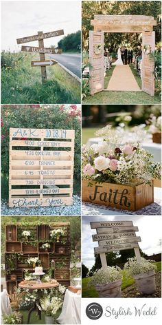Wood Pallet Inspired Rustic Country Outdoor Wedding Inspirations