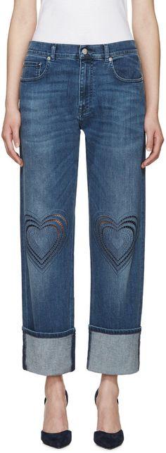 Christopher Kane Blue Love Heart Boyfriend Jeans