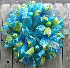 Peacock Chrismas Deco Mesh Wreath by CordialConcepts on Etsy, $110.00