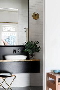 Scandinavian bathroom with shiplap wall and floating vanity Laundry In Bathroom, Bathroom Renos, White Bathroom, Bathroom Interior, Modern Bathroom, Small Bathroom, Bathroom Ideas, Bathroom Taps, Kitchen Modern