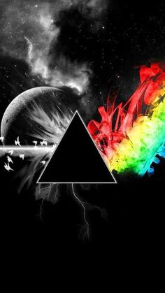 Pink Floyd, The Dark Side of the Moon artwork Art Pink Floyd, Pink Floyd Artwork, Pink Floyd Poster, Pink Floyd Logo, Tumblr Backgrounds, Tumblr Wallpaper, Cool Wallpaper, Wallpaper Backgrounds, Pink Floyd Dark Side