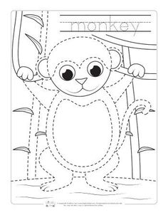 Free monkey pop up card template and monkey colouring page