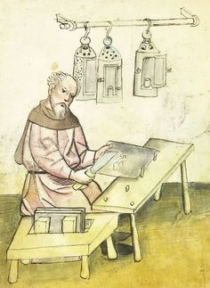 Ffritz Hornrichter works with a plate of horn for a lantern, Mendel Hausbuch (Amb. 317.2, fol. 15v), c. 1425