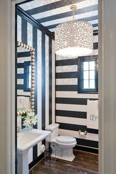 b&w stripe wallpapered bathroom