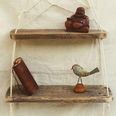 Étagère balançoire double, bois et macramé  #nature #bois #DIY #France #correze #madeinfrance #artisan #deco #maison #palette