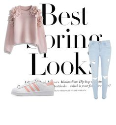 """""""Baby pink"""" by juliaschwartz202 on Polyvore featuring H&M, Chicwish, River Island, adidas Originals, women's clothing, women, female, woman, misses and juniors"""