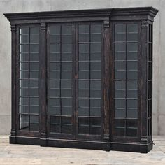 Kathy Kuo Home Clemens French Country Espresso Brown Walnut Glass 4 Door Bookcase Cabinet Walnut Bookcase, Large Bookcase, Bookcase Wall, Open Bookcase, Wood Shelves, Bookcases, Black Bookcase, Walnut Furniture, Large Furniture