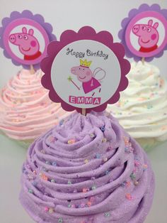 12 Personalized Peppa Pig Fairy Cupcake Toppers on Etsy, Pig Birthday, Third Birthday, 3rd Birthday Parties, Birthday Ideas, Bolo Da Peppa Pig, Cumple Peppa Pig, Lila Party, Aniversario Peppa Pig, Fairy Cupcakes