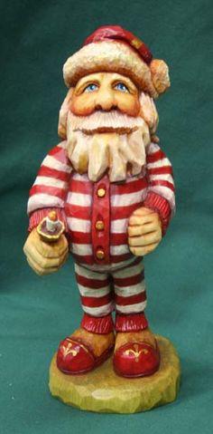 Santa in his pajamas from Christmas Carvings, Etc.