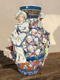 BEAUTIFUL MAID mosaic/ceramic collage vase by Joann van Heerden. 30cm.