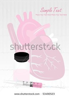 stock vector : pink medical background with heart and injection