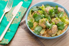 Thai Chicken Meatballs with Red Coconut Curry, Bok Choy & Rice Noodles [Made this! Verdict: Another hit! We only added half of the red curry paste until I had served myself; then we added the rest so my other half (with a spicier palate) could have it his way. We both loved it!]