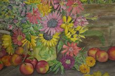 Still Life with Flowers and Fruit by JaniesStudio on Etsy