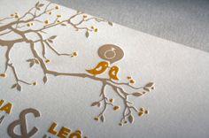 Letterpress wedding invitation by Léo Mendonça, via Behance