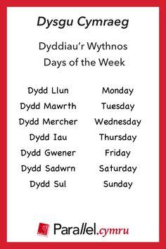 Dysgu Cymraeg / Learn Welsh ~ Vocabulary builder ~ Dyddiau'r wythnos / Days of the week Wales Language, Learn Welsh, Welsh Words, Vocabulary Builder, Days And Months, North Wales, Family History, Knowledge, Learning