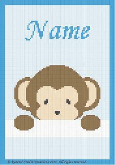 Crochet Patterns Peek A Boo Baby Boy Monkey Personalized Beginner Pattern | eBay