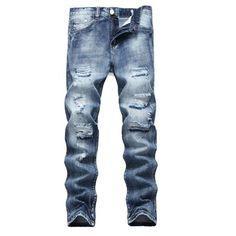 ISAKO - Men s Twill Stretch Biker Jogger Distressed Denim Pants Ripped Slim  Straight Jeans with Zipper - Walmart.com 204eca333c85
