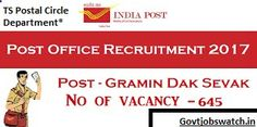 Apply now TS Postal Circle Recruitment 2017, appost.in - Telangana Post office 645 GDS Vacancy Online Forms, TS Post Office Jobs 2017, TS Post Vacancy 2017