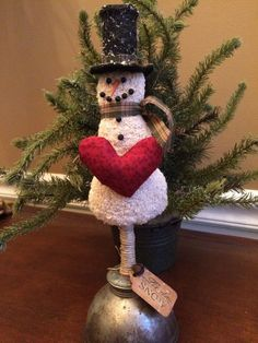 Primitive Christmas Needle Punch Snowman in Art, Direct from the Artist, Folk Art & Primitives | eBay