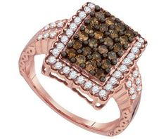 Cognac Diamond Fashion Ring in 10k Rose Gold 1 ctw - Rings - Jewelry at Viomart.com