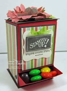 Cute candy dispenser by Becky Roberts with link to downloadable pattern.