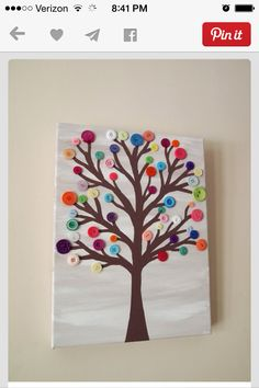 Button tree canvas painting