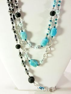 Necklace Earring Gift Set Blue Grey Pearls and by CinfulDesigns, $34.00