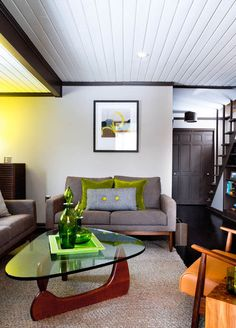 modern living room by Rikki Snyder, tongue and groove ceiling