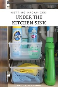 It was a big mess under our kitchen sink, with cleaning products and rags galore. Here's how I made a few simple changes to get this space looking good! How to organize under your #kitchensink #organize