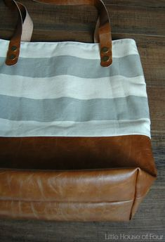 Leather Bottom Fabric Tote {Monthly DIY Challenge}