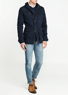 H.E. by Mango Hooded cotton parka. Might get this and manually wax it for waterproofing.