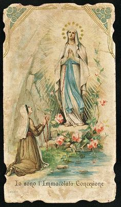 I Am The Immaculate Conception ~ Our Lady of Lourdes Catholic Art, Catholic Saints, Religious Art, Blessed Mother Mary, Blessed Virgin Mary, Immaculée Conception, Saint Philomena, Vintage Holy Cards, Religious Pictures