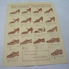 BRITONIA FOOTWEAR LEAFLET VINTAGE 1930s SHOES CATALOGUE ADVERTISING Pre-WW2*
