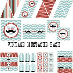 Vintage Mustache Bash Decorations for Boys Birthday Party or Baby Shower - DIY Little Man Decor by BeeAndDaisy - Instant Download. $12.00, via Etsy.